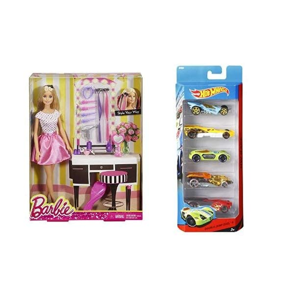 Barbie Doll and Playset + Hot Wheels Five Car Gift Pack Assortment Colors and Designs Might Vary