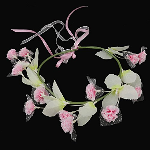 Coronas Tiara Flores Accesorios Cabello para Boda Novia Dama de Honor Rosado Y Blanco