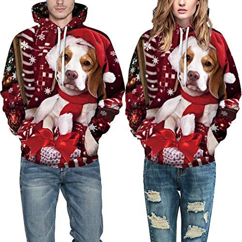 Muster Für Kostüm Dog Erwachsene - EDtara WeihnachtsgeschenkWeihnachten Haustier Hund Katze Kostüme,Unisex Realistic 3D Dog Print Weihnachten Hoodie Lässige Tier Muster Kapuzen Sweatshirt Pullover as Shown L