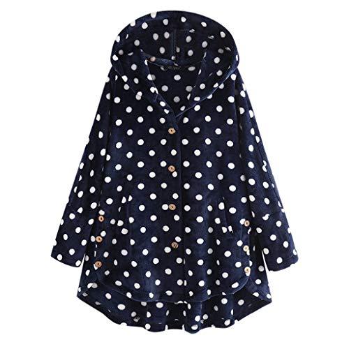 Xmiral Kapuzenpullover Damen Punkte Drucken Hoodie Knopf Mantel Pullover Strickjacken Lose T-Shirt Unregelmäßig Sweatshirts Strickwaren(Marineblau,L)