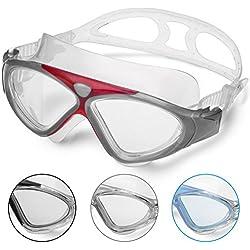 Gafas de Natación Profesional - Anti Niebla - Hermético - Ajustable - Gafas de Natación Para Adultos - Para Hombres, Mujeres, Niños Y Jóvenes de Mas de 10 Años (Rojo)