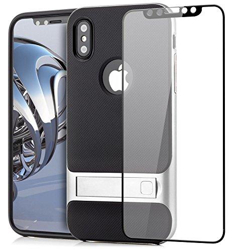 Custodia iPhone X Cover + Vetro Temperato 3D, Silicone Slim Case [Neo Hybrid] Cuscino daria Tecnologia Soft TPU protezione Back Protector Hard Cover e Bumper [Antiurto] con Supporto Stand Argento Argento