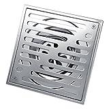Fdit Quadratische Bodenablauf Edelstahl Anti Geruch Bad Abfall Tor Dusche Abtropffläche(150*150mm(大口径款))