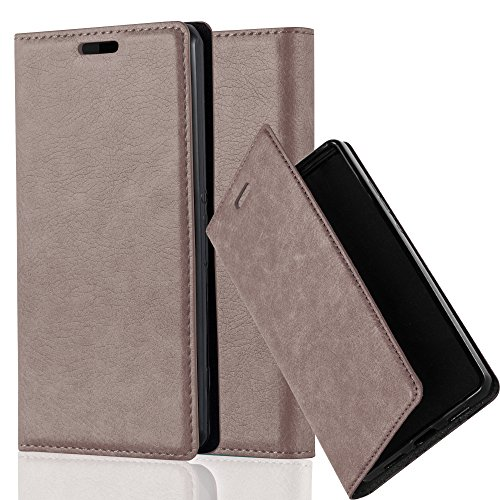 Cadorabo Hülle für Sony Xperia Z1 COMPACT - Hülle in Kaffee BRAUN – Handyhülle mit Magnetverschluss, Standfunktion und Kartenfach - Case Cover Schutzhülle Etui Tasche Book Klapp Style
