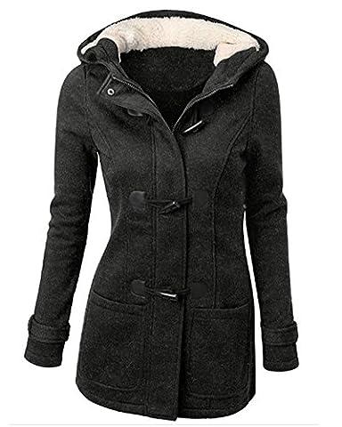 Femme Manteaux à Capuche Blouson Hoodie Veste Jacket Outwear Coat Manteau Gris Foncé 3XL