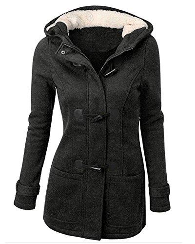 Winterjacke Damen Mantel Jacke Trenchcoat Outwear Mit Kapuze Gris Foncé L