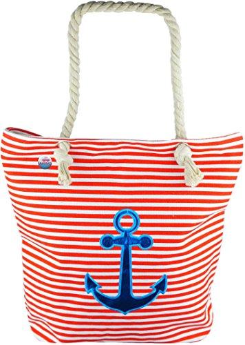Feelinko Große Strandtasche Marinelook Tasche Beutel Bag Strand Beach Baden rot -