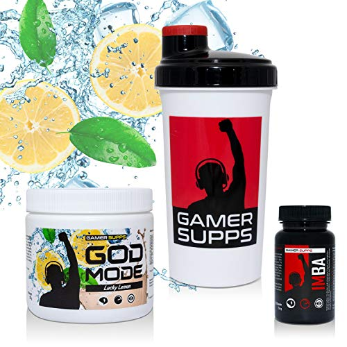 GAMER SUPPS GOD MODE + IMBA Pro Gaming Booster Paket, 280g + 60 Kapseln + Shaker, Geschmack:Flawless Fruit Punch -