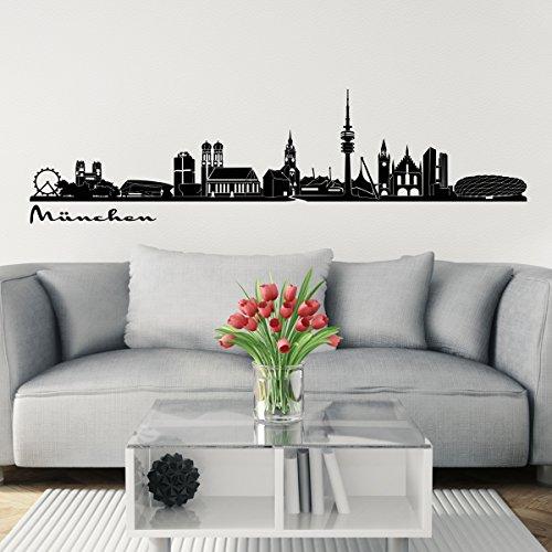 Preisvergleich Produktbild Wandkings Skyline Wandaufkleber Wandtattoo - 125 x 30 cm in schwarz - Deine Stadt wählbar - München