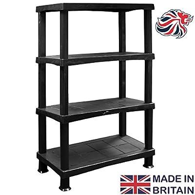 CrazyGadget® 80cm Wide Storage Shelving Shelves Unit 4 Tier Racking Plastic for Home Living Room Garage - Extra Large (BLACK) - MADE IN UK - low-cost UK light store.
