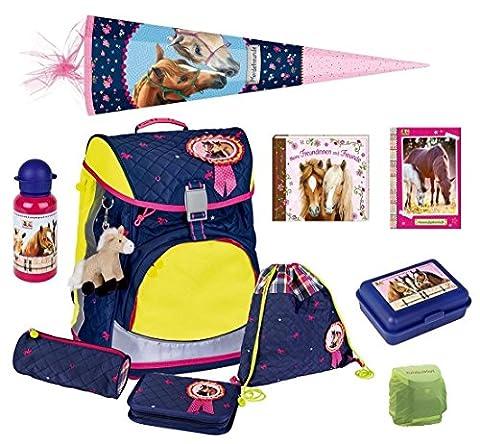 Spiegelburg Pferdefreunde Schulrucksack Set 10tlg. Flex Style Fun DIN 58124 inkl. Dose, Flasche und Schultüte 85cm 11774