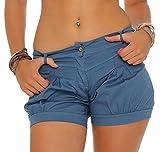 Malito Damen Shorts in Unifarben | Bermuda für Den Strand | Lässige Kurze Hose | Pants - Hotpants - Hose 6088 (Blau, L)