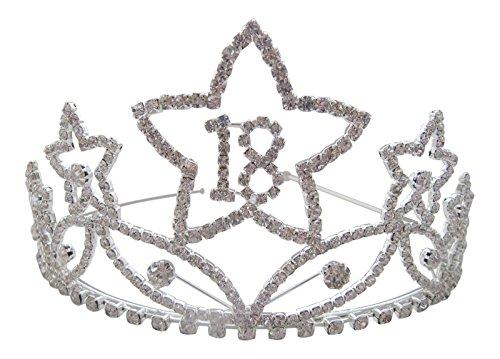 Extra Large Argent Cristal Transparent Star 18e anniversaire Tiara/Top Qualité