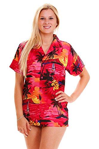 V.H.O. Funky Hawaiibluse Hawaiihemd, Kurzarm, Surf, Pinkisch-Rot, XS - Womens Hawaiian-t-shirt
