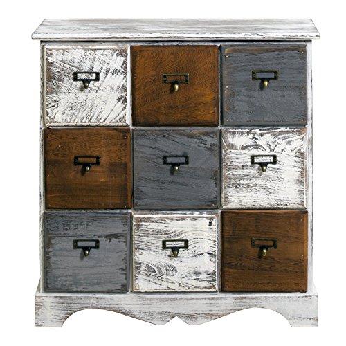 Opiniones cajonera de madera con 9 cajones armario de for Muebles con cajones de madera