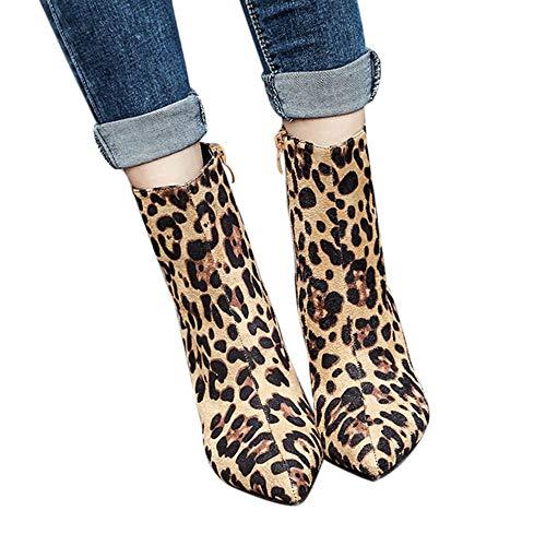 LongraLongraBotines Puntiagudos de tacón Fino para Mujer, Botas de Piel de Serpiente con Estampado de Leopardo Zapatos