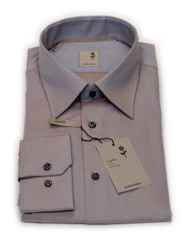 Seidensticker Herren Langarm Hemd Schwarze Rose Slim Fit Business Kent mehrfarbig strukturiert 226350.23 Grau