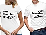 Just Married Him Her Arrow Wedding T-shirt Set