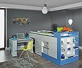 Kinderbett / Hochbett mit Bettkasten und Schreibtisch