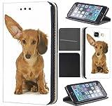 Samsung Galaxy S4 Mini Hülle von CoverHeld Premium Flipcover Schutzhülle Flip Case Motiv (1466 Hund mit großem Ohr Braun)