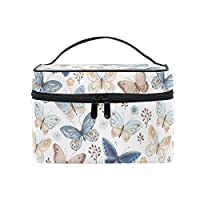 Makeup Bag, Butterfly Print CosmeticToiletry Storage Organiser Large Travel Handle Personalised Pouch with Compartments for Teenage Girl Women Lady