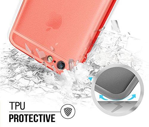 VAPIAO iPhone 6 Plus, 6s Plus Hülle Crystal Matt Case TPU Schutzhülle Back Cover Anthrazit Grau Rosé