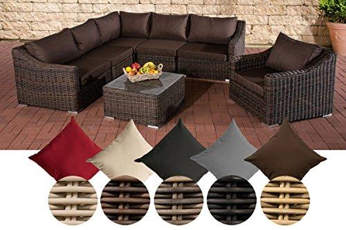 CLP Poly-Rattan Gartenmöbel Lounge Set DEL MAR, 5 mm RUND-Geflecht, Aluminiumgestell Rattan Farbe braun-meliert, Bezugfarbe: Terrabraun