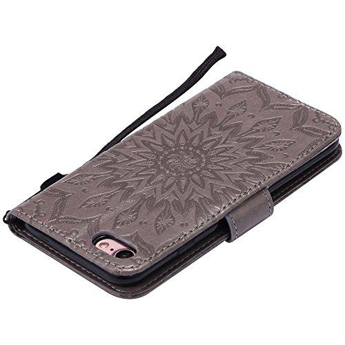 Custodia iPhone 7, cmdkd Wallet Custodia Bumper per iPhone 7. (Porpora) Grigio