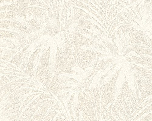 A.S. Création Vliestapete Soraya Tapete im Palmenprint Jungle Style 10,05 m x 0,53 m creme weiß Made in Germany 305883 30588-3