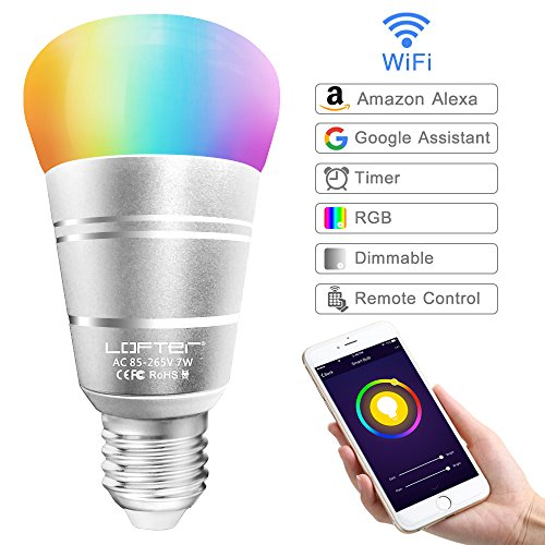Lampadina Intelligente, LOFTer Lampadina Smart WiFi E27 RGB...