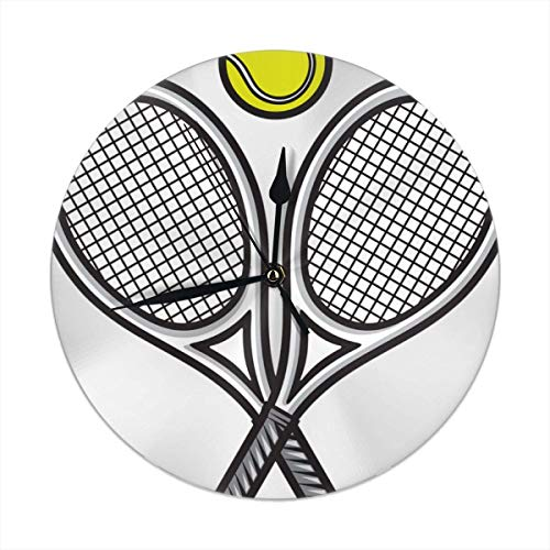 dfegyfr Wanduhr Silent Non Ticking,Cool Tennis Clock for Home Bedroom Office Diameter 9.84