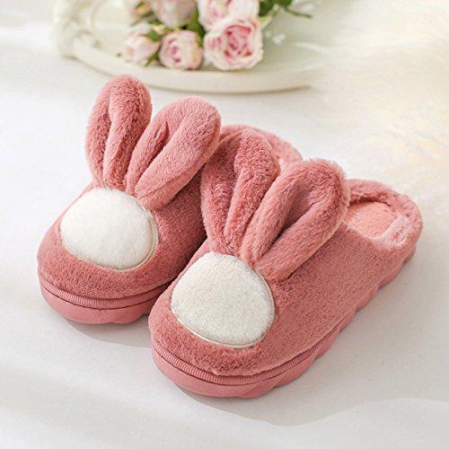 DogHaccd pantofole,Pantofole di cotone di spessore, pavimento antiscivolo indoor autunno inverno silenzioso home soggiorno nella bella donna pantofole scarpe caldo Pelle di colore rosso4