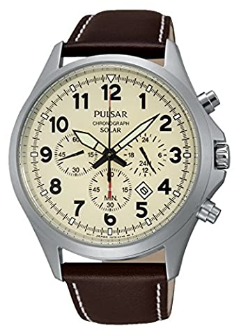 Pulsar - PX5005X1 - Montre Homme - Quartz Chronographe - Solaire/Chronomètre/Temps intermédiaires/Boussole - Bracelet Cuir Marron