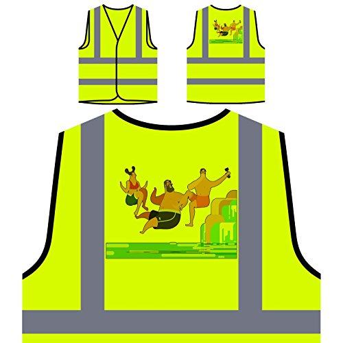 Jungen Und Mädchen Wasserfälle Personalisierte High Visibility Gelbe Sicherheitsjacke Weste r424v (Herren-wasserfall)