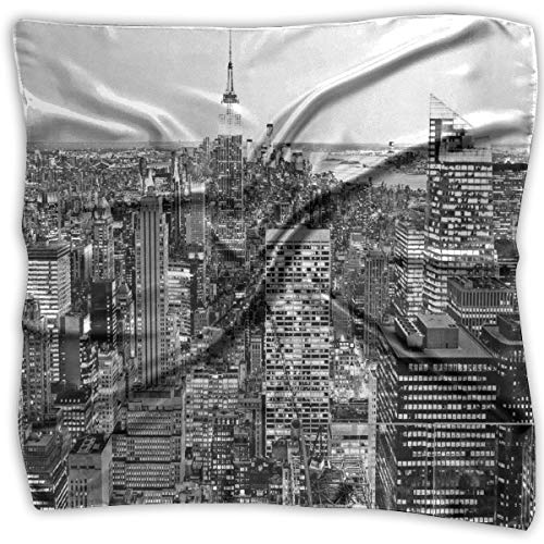 Silk Square Scarves Bandana Scarf, Panorama Of Manhattan High Buildings Of City Famous Monument USA Black And White Photo,Womens Neck Head Set ()