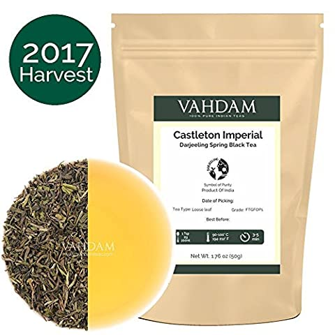 2017 Fresh First Flush Darjeeling Tea From the Iconic Castleton Tea Estate - Flowery, Aromatic & Delicious,100% Pure Unblended Limited Edition, From Source in India, 1.76oz/50gm (Makes 25 Cups)