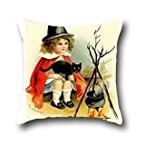 Koxuy Bby Black Cats Halloween Square Pillow Cases Couch Cushion Coversmodern Style Decorative Cover Covers ( 20*20 )