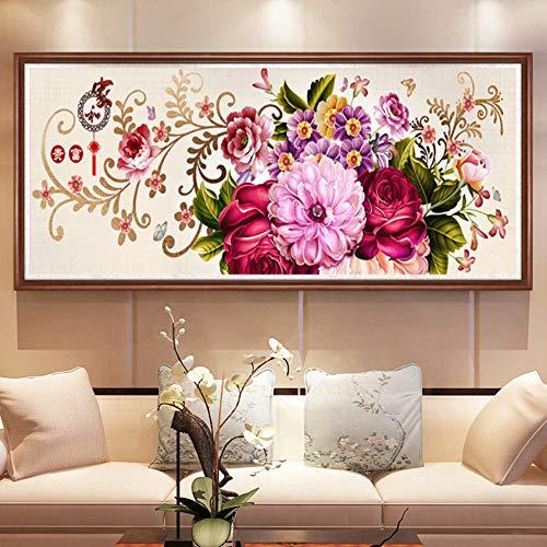 Diamant-sofa-satz (Mengdan DIY voller Diamant malerei mosaik malerei Blumen blüte kristall Diamant Stickerei Wohnzimmer Sofa backg Decor, 80x220cm)