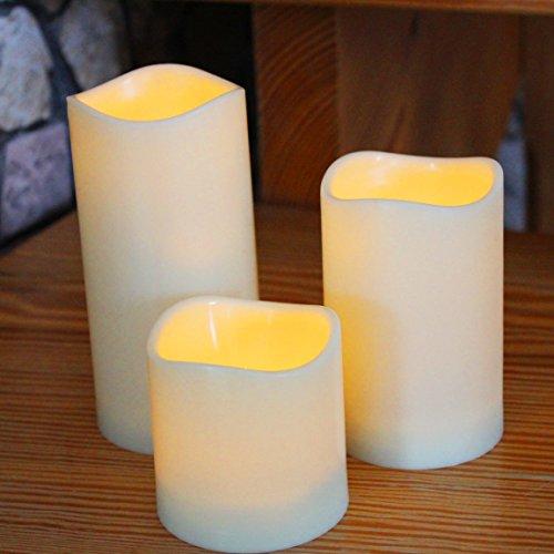 Kamaca ® 3 er Set LED Kerzen dekorative und stromsparende LED Technik inkl. Timer Kerze natürlich flackernd für Innen und Außen Outdoor (weiß/Elfenbein)