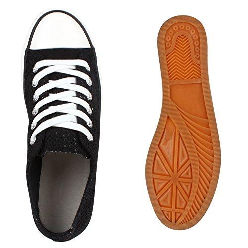 Damen Sneakers Low Glitzer Canvas Schuhe Schnürer Schwarz