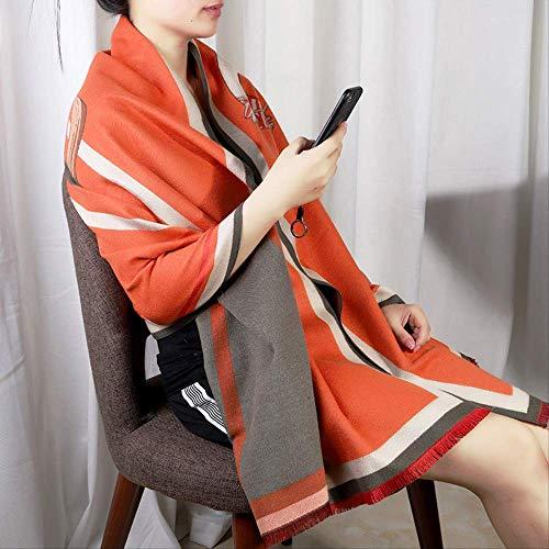 zoyolo Herbst Und Winter Nachahmung Kaschmir Pferd Schal, Frauen Blume Doppelseitigen Multifunktionalen Schal 180 x 65cm orange -