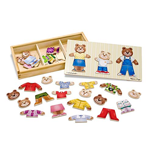Melissa & Doug Bear Family Dress-Up Puzzle (Preschool, Mix-and-Match Outfits, Durable Wooden Construction, Sturdy Storage Box, 31.75 cm H x 15.748 cm W x 5.08 cm L)