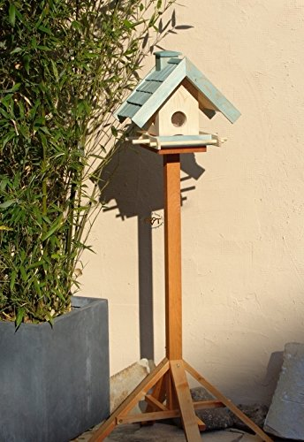 Vogelfutterhaus,BEL-X-VOWA3-türkis002 Großes Vogelhäuschen + 5 SITZSTANGEN, KOMPLETT mit Futtersilo + SICHTGLAS für Vorrat PREMIUM Vogelhaus – ideal zur WANDBESTIGUNG – vogelhäuschen, Futterhäuschen WETTERFEST, QUALITÄTS-SCHREINERARBEIT-aus 100% Vollholz, Holz Futterhaus für Vögel, MIT FUTTERSCHACHT Futtervorrat, Vogelfutter-Station Farbe türkis ANTIKBLAU meeresblau blau-grün / natur, MIT TIEFEM WETTERSCHUTZ-DACH für trockenes Futter - 2