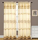 RT Designer Collection Alisa Makramee Rod Pocket Vorhang Panel mit 18 Querbehang, befestigt, 54 x 84 Zoll, Polyester, beige, 84 x 54 x 0.25 cm