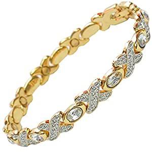 MPS® TASIA CR Magnetic Bracelet with Crystals and Clasp Featuring Strong 3,000 gauss Neodymium Magnets - L size
