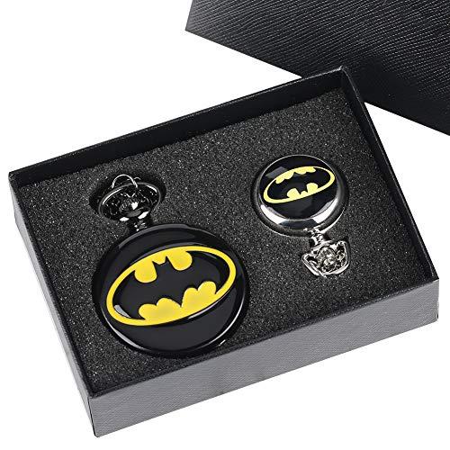 Batman Taschenuhr für Jungen Herren Geschenk-Set Cool 3D Fledermaus Uhren Big und kleine Größe Pocket Uhren