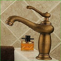 Srinivalei Waschtischarmatur Wasserhahn Armatur wasserfall für Badezimmer Messinghähne Antike Antike Teekanne Badezimmer Waschbecken Armaturen einzelne Bohrung kaltes und warmes - Wasseranschluß