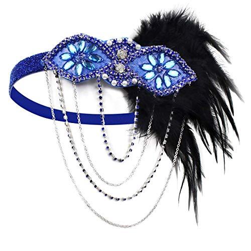 KQueenStar Damen 1920s Feder Stirnband mit 20er Jahre Haarschmuck Stil Flapper Haarband Inspiriert von Great Gatsby Damen Kostüm Accessoires (Flapper Kostüm Great Gatsby)