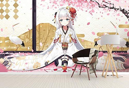 WYH-YW Fototapeten 3D Anime Wand Tapete Egret Cherry Blossom Kimono Girl Wohnzimmer Schlafzimmer Büro Flur Dekoration Wandbilder Moderne Wanddeko Wallpaper 200cmx140cm(W×H) -