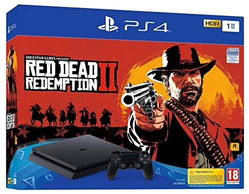 PS4 Slim 1 To E noir + Red Dead Redemption 2 - Standard Editio